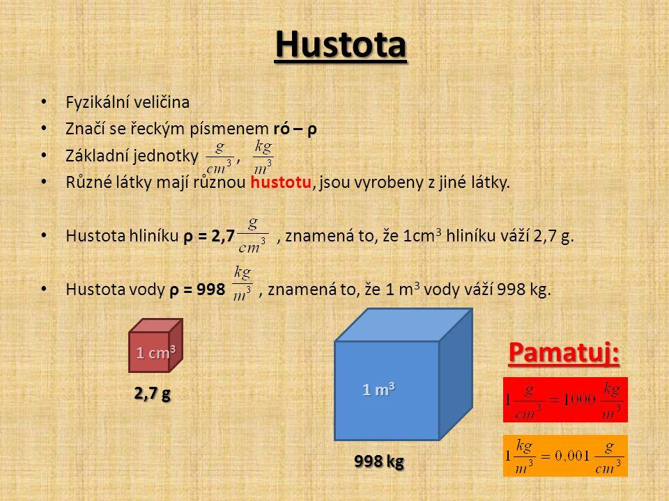 Hustota Fyzikální veličina Značí se řeckým písmenem ró – ρ Základní jednotky, Různé látky mají různou hustotu, jsou vyrobeny z jiné látky.