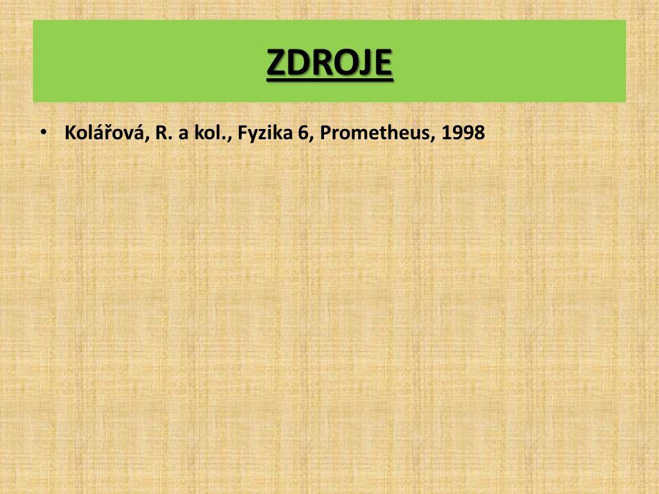 ZDROJE Kolářová, R. a kol., Fyzika 6, Prometheus, 1998