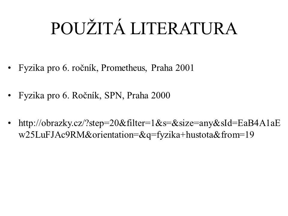 POUŽITÁ LITERATURA Fyzika pro 6. ročník, Prometheus, Praha 2001 Fyzika pro 6.