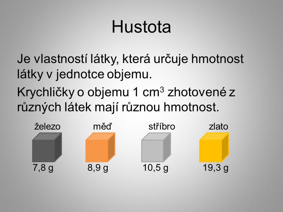 Hustota Je vlastností látky, která určuje hmotnost látky v jednotce objemu.