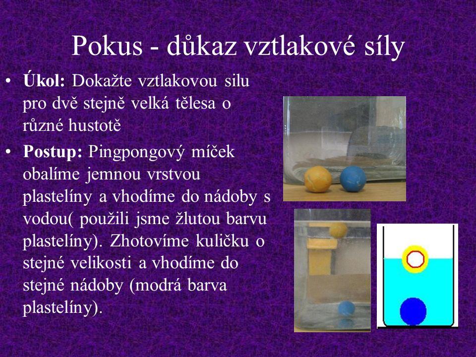 Pokus - důkaz vztlakové síly Úkol: Dokažte vztlakovou silu pro dvě stejně velká tělesa o různé hustotě Postup: Pingpongový míček obalíme jemnou vrstvou plastelíny a vhodíme do nádoby s vodou( použili jsme žlutou barvu plastelíny).