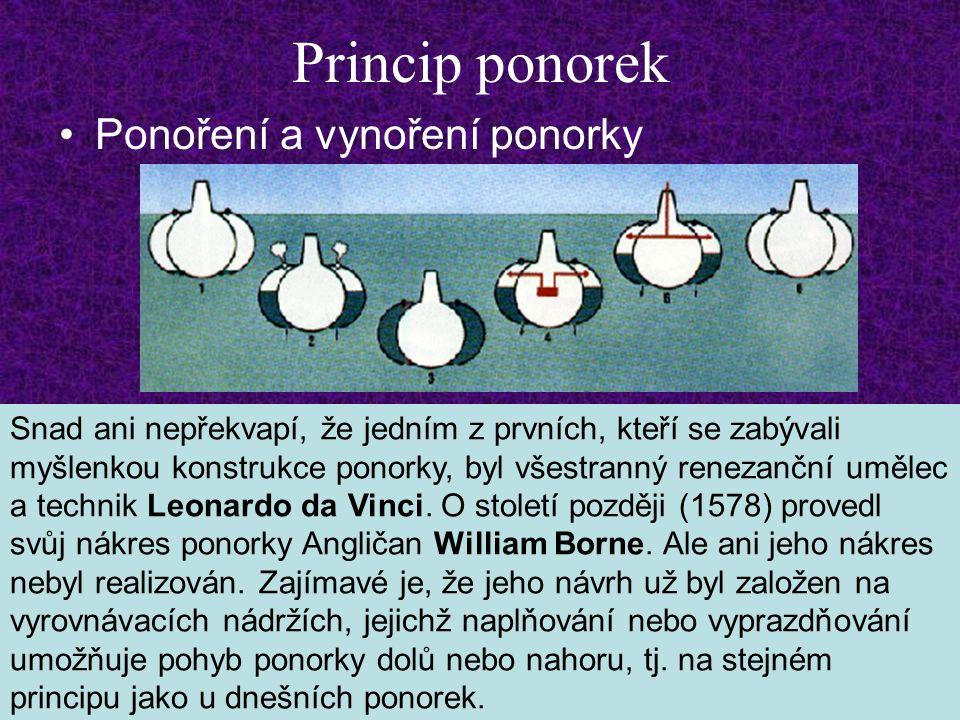 Princip ponorek Ponoření a vynoření ponorky Snad ani nepřekvapí, že jedním z prvních, kteří se zabývali myšlenkou konstrukce ponorky, byl všestranný renezanční umělec a technik Leonardo da Vinci.