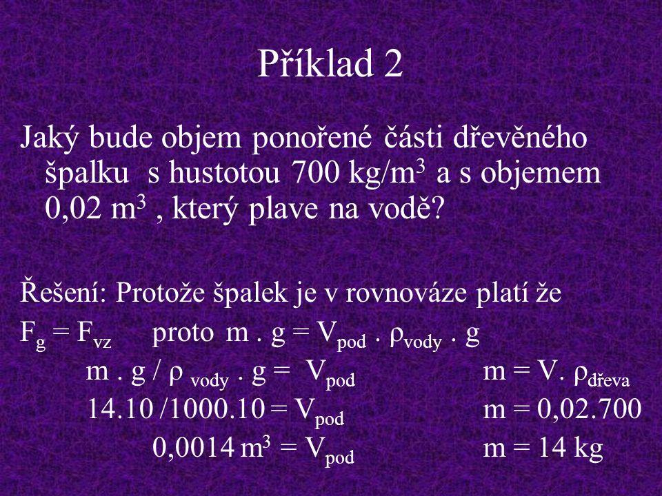 Příklad 2 Jaký bude objem ponořené části dřevěného špalku s hustotou 700 kg/m 3 a s objemem 0,02 m 3, který plave na vodě.