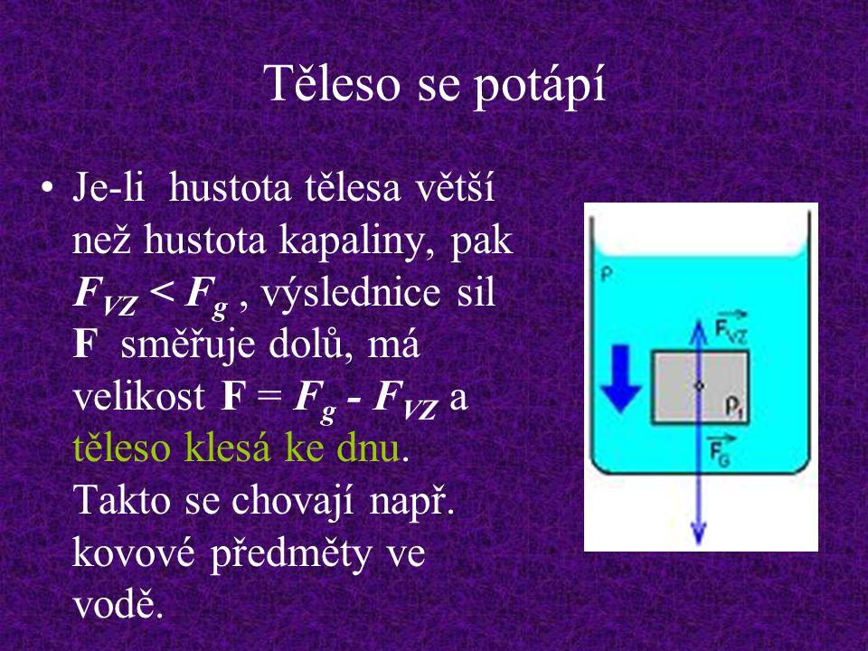 Těleso se potápí Je-li hustota tělesa větší než hustota kapaliny, pak F VZ < F g, výslednice sil F směřuje dolů, má velikost F = F g - F VZ a těleso klesá ke dnu.