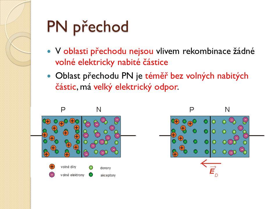 PN přechod V oblasti přechodu nejsou vlivem rekombinace žádné volné elektricky nabité částice Oblast přechodu PN je téměř bez volných nabitých částic, má velký elektrický odpor.