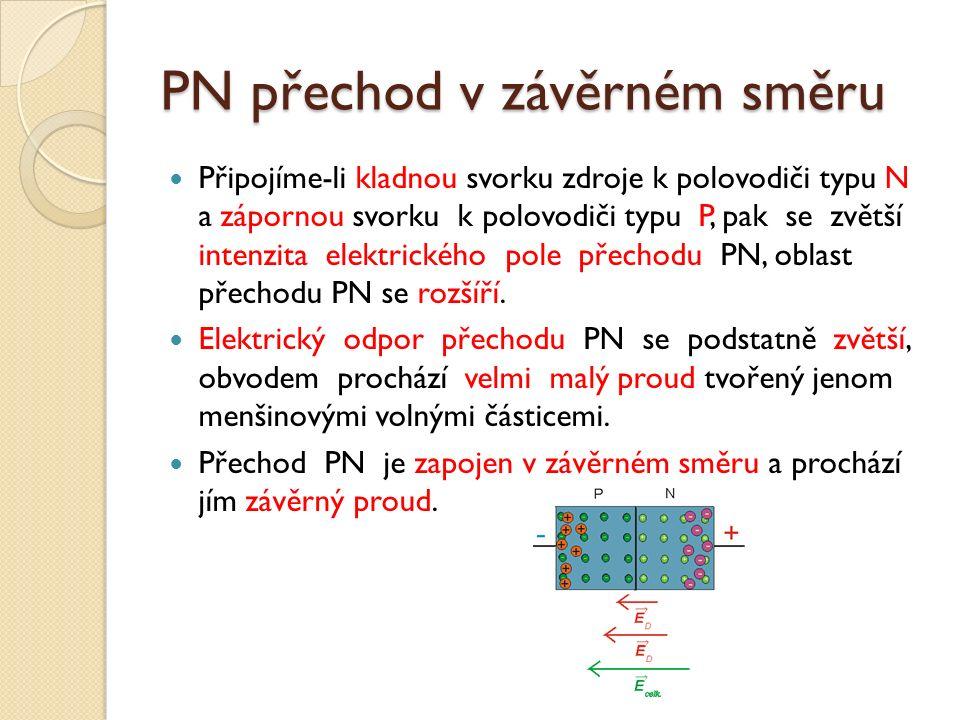 PN přechod v závěrném směru Připojíme-li kladnou svorku zdroje k polovodiči typu N a zápornou svorku k polovodiči typu P, pak se zvětší intenzita elektrického pole přechodu PN, oblast přechodu PN se rozšíří.