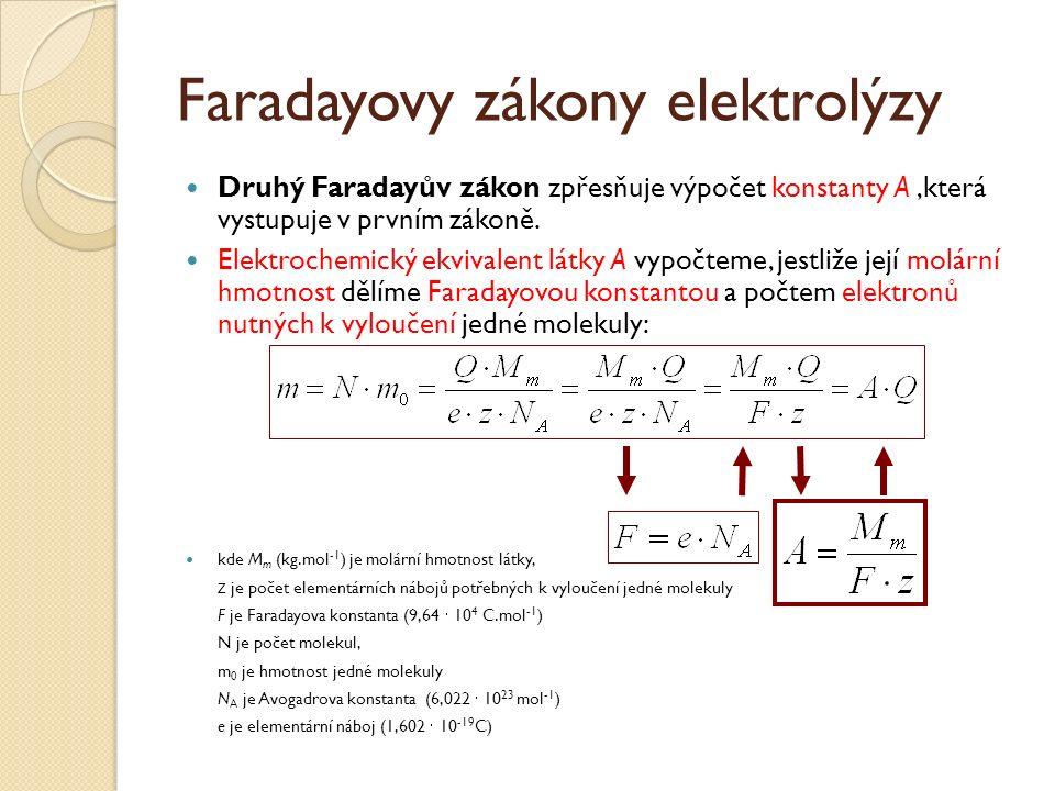 Faradayovy zákony elektrolýzy Druhý Faradayův zákon zpřesňuje výpočet konstanty A,která vystupuje v prvním zákoně.