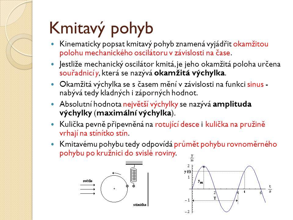 Kmitavý pohyb Kinematicky popsat kmitavý pohyb znamená vyjádřit okamžitou polohu mechanického oscilátoru v závislosti na čase.
