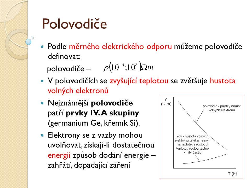 Polovodiče Podle měrného elektrického odporu můžeme polovodiče definovat: polovodiče – V polovodičích se zvyšující teplotou se zvětšuje hustota volných elektronů Nejznámější polovodiče patří prvky IV.