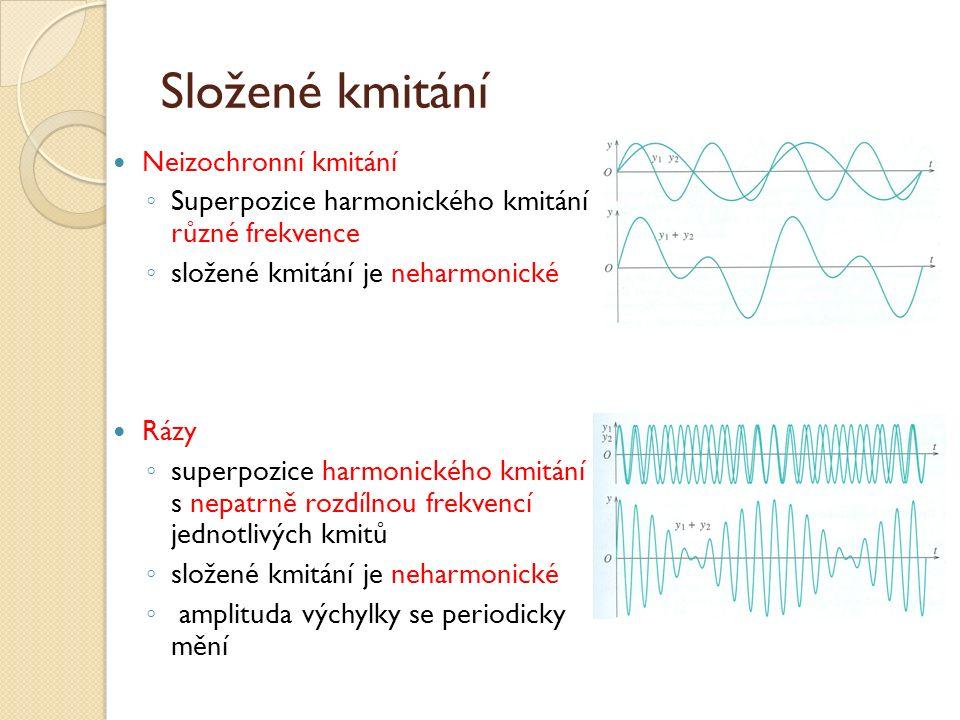 Složené kmitání Neizochronní kmitání ◦ Superpozice harmonického kmitání různé frekvence ◦ složené kmitání je neharmonické Rázy ◦ superpozice harmonického kmitání s nepatrně rozdílnou frekvencí jednotlivých kmitů ◦ složené kmitání je neharmonické ◦ amplituda výchylky se periodicky mění