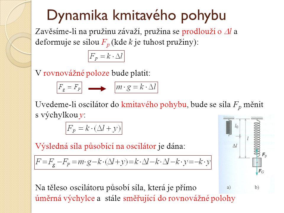 Dynamika kmitavého pohybu Zavěsíme-li na pružinu závaží, pružina se prodlouží o  l a deformuje se silou F p (kde k je tuhost pružiny): V rovnovážné poloze bude platit: Uvedeme-li oscilátor do kmitavého pohybu, bude se síla F p měnit s výchylkou y: Výsledná síla působící na oscilátor je dána: Na těleso oscilátoru působí síla, která je přímo úměrná výchylce a stále směřující do rovnovážné polohy