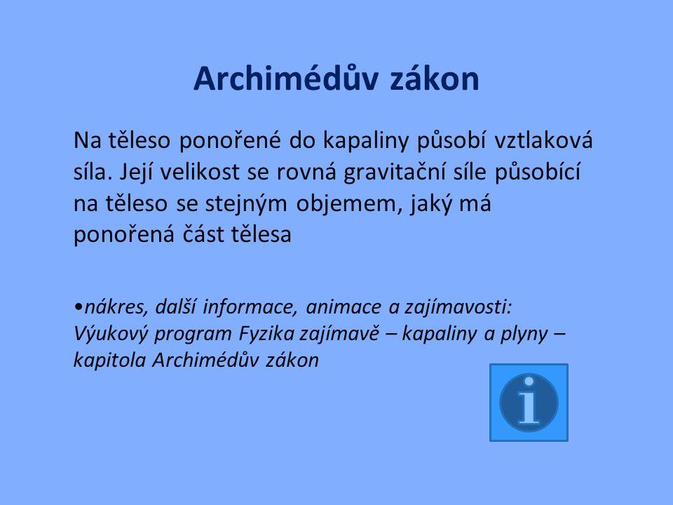 Archimédův zákon Na těleso ponořené do kapaliny působí vztlaková síla.