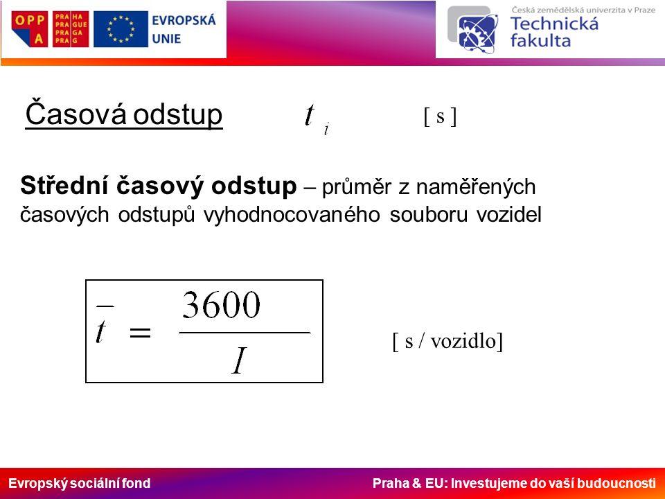 Evropský sociální fond Praha & EU: Investujeme do vaší budoucnosti Časová odstup [ s ] Střední časový odstup – průměr z naměřených časových odstupů vyhodnocovaného souboru vozidel [ s / vozidlo]