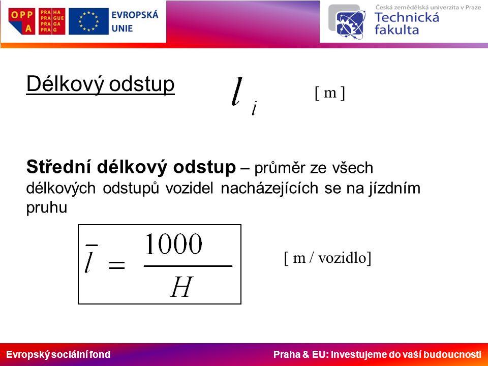 Evropský sociální fond Praha & EU: Investujeme do vaší budoucnosti Délkový odstup [ m ] Střední délkový odstup – průměr ze všech délkových odstupů vozidel nacházejících se na jízdním pruhu [ m / vozidlo]
