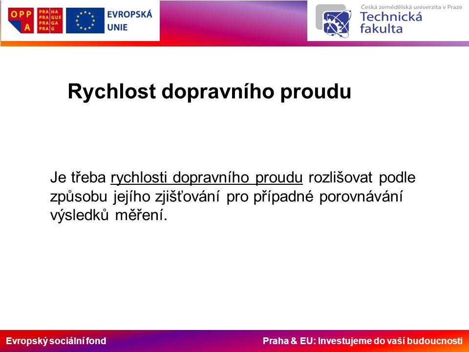 Evropský sociální fond Praha & EU: Investujeme do vaší budoucnosti Rychlost dopravního proudu Je třeba rychlosti dopravního proudu rozlišovat podle zp