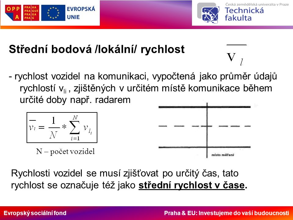 Evropský sociální fond Praha & EU: Investujeme do vaší budoucnosti Střední bodová /lokální/ rychlost - rychlost vozidel na komunikaci, vypočtená jako průměr údajů rychlostí v li, zjištěných v určitém místě komunikace během určité doby např.