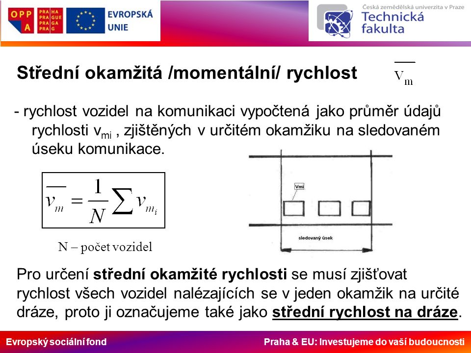Evropský sociální fond Praha & EU: Investujeme do vaší budoucnosti Střední okamžitá /momentální/ rychlost - rychlost vozidel na komunikaci vypočtená jako průměr údajů rychlosti v mi, zjištěných v určitém okamžiku na sledovaném úseku komunikace.