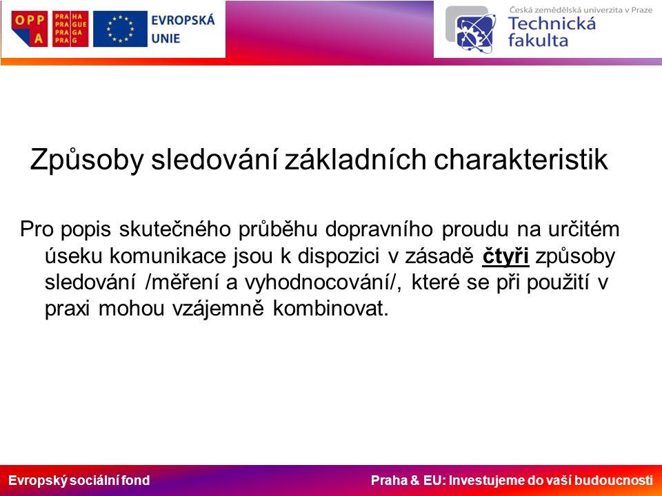 Evropský sociální fond Praha & EU: Investujeme do vaší budoucnosti Způsoby sledování základních charakteristik Pro popis skutečného průběhu dopravního proudu na určitém úseku komunikace jsou k dispozici v zásadě čtyři způsoby sledování /měření a vyhodnocování/, které se při použití v praxi mohou vzájemně kombinovat.
