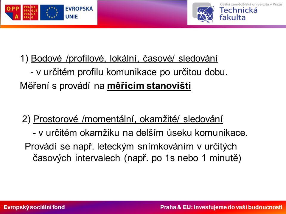 Evropský sociální fond Praha & EU: Investujeme do vaší budoucnosti 1) Bodové /profilové, lokální, časové/ sledování - v určitém profilu komunikace po
