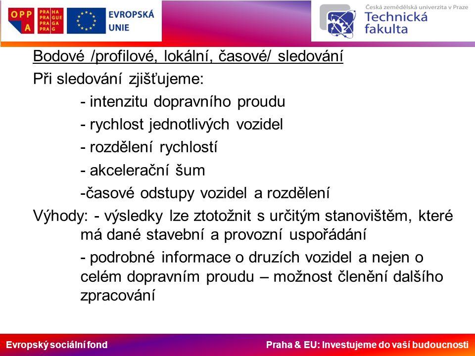 Evropský sociální fond Praha & EU: Investujeme do vaší budoucnosti Bodové /profilové, lokální, časové/ sledování Při sledování zjišťujeme: - intenzitu dopravního proudu - rychlost jednotlivých vozidel - rozdělení rychlostí - akcelerační šum -časové odstupy vozidel a rozdělení Výhody: - výsledky lze ztotožnit s určitým stanovištěm, které má dané stavební a provozní uspořádání - podrobné informace o druzích vozidel a nejen o celém dopravním proudu – možnost členění dalšího zpracování