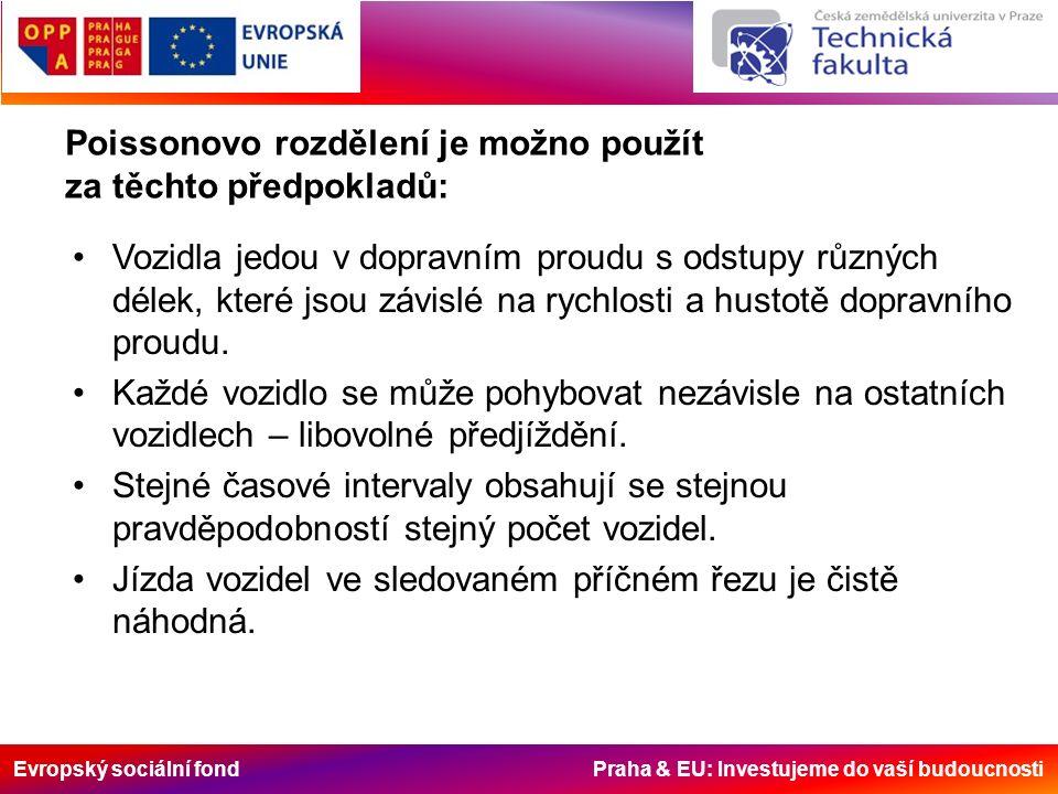 Evropský sociální fond Praha & EU: Investujeme do vaší budoucnosti Poissonovo rozdělení je možno použít za těchto předpokladů: Vozidla jedou v dopravním proudu s odstupy různých délek, které jsou závislé na rychlosti a hustotě dopravního proudu.