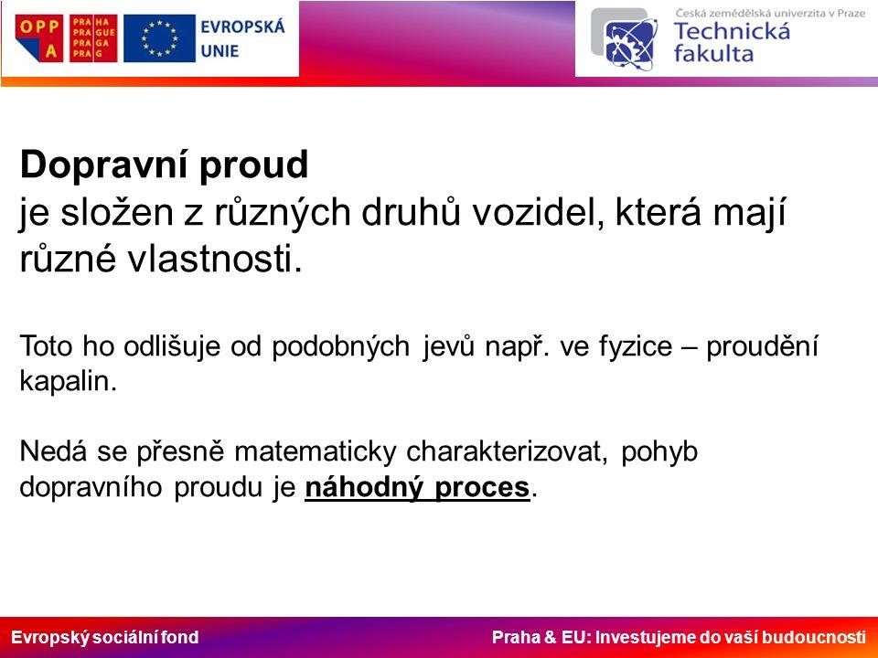 Evropský sociální fond Praha & EU: Investujeme do vaší budoucnosti Dopravní proud je složen z různých druhů vozidel, která mají různé vlastnosti.