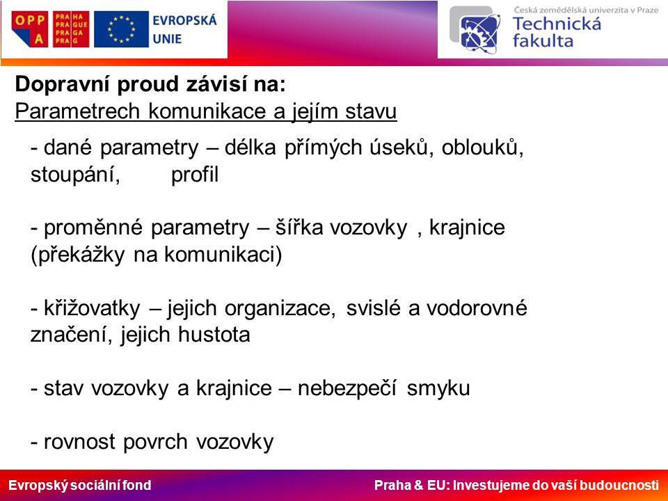Evropský sociální fond Praha & EU: Investujeme do vaší budoucnosti Dopravní proud závisí na: Parametrech komunikace a jejím stavu - dané parametry – d