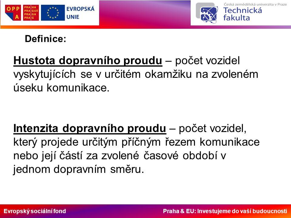 Evropský sociální fond Praha & EU: Investujeme do vaší budoucnosti Definice: Hustota dopravního proudu – počet vozidel vyskytujících se v určitém okamžiku na zvoleném úseku komunikace.