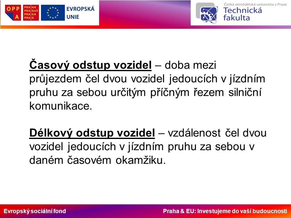 Evropský sociální fond Praha & EU: Investujeme do vaší budoucnosti Časový odstup vozidel – doba mezi průjezdem čel dvou vozidel jedoucích v jízdním pruhu za sebou určitým příčným řezem silniční komunikace.
