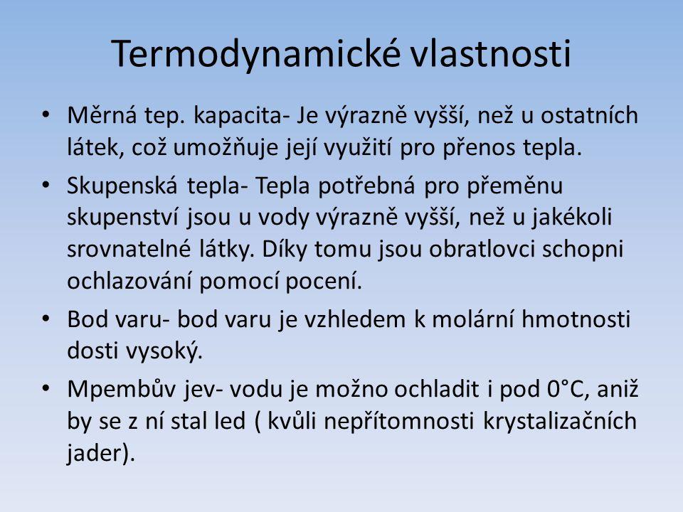 Termodynamické vlastnosti Měrná tep.