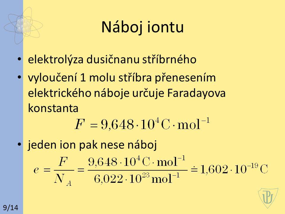 Náboj iontu elektrolýza dusičnanu stříbrného vyloučení 1 molu stříbra přenesením elektrického náboje určuje Faradayova konstanta jeden ion pak nese náboj 9/14