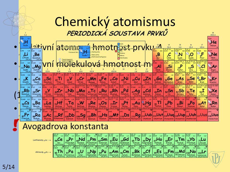 Chemický atomismus relativní atomová hmotnost prvku A r relativní molekulová hmotnost molekul M r atomová hmotnostní konstanta m u (1/12 klidové hmotnosti nuklidu uhlíku ) látkové množství n -> jednotka SI Avogadrova konstanta 5/14