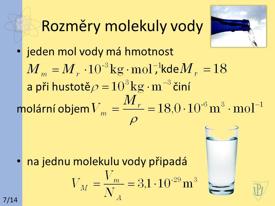 Rozměry molekuly vody jeden mol vody má hmotnost, kde a při hustotě činí molární objem na jednu molekulu vody připadá 7/14
