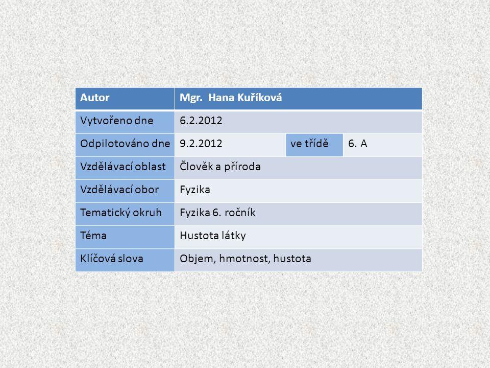 AutorMgr. Hana Kuříková Vytvořeno dne6.2.2012 Odpilotováno dne9.2.2012ve třídě6. A Vzdělávací oblastČlověk a příroda Vzdělávací oborFyzika Tematický o