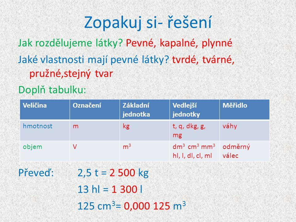 Zopakuj si- řešení Jak rozdělujeme látky? Pevné, kapalné, plynné Jaké vlastnosti mají pevné látky? tvrdé, tvárné, pružné,stejný tvar Doplň tabulku: Př