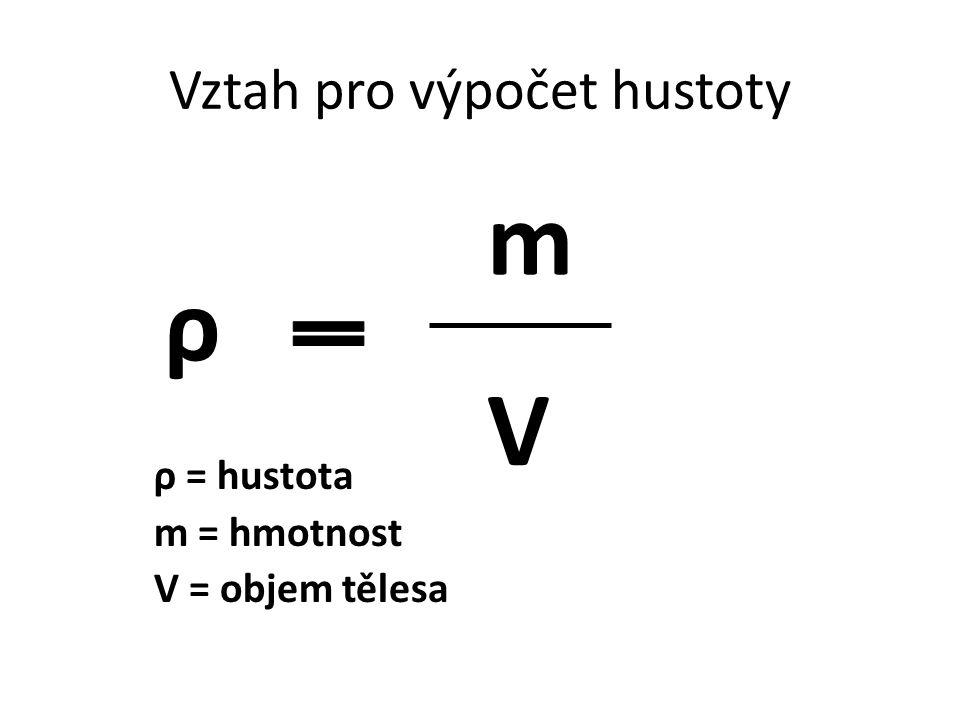 Vztah pro výpočet hustoty ρ = hustota m = hmotnost V = objem tělesa ρ m V