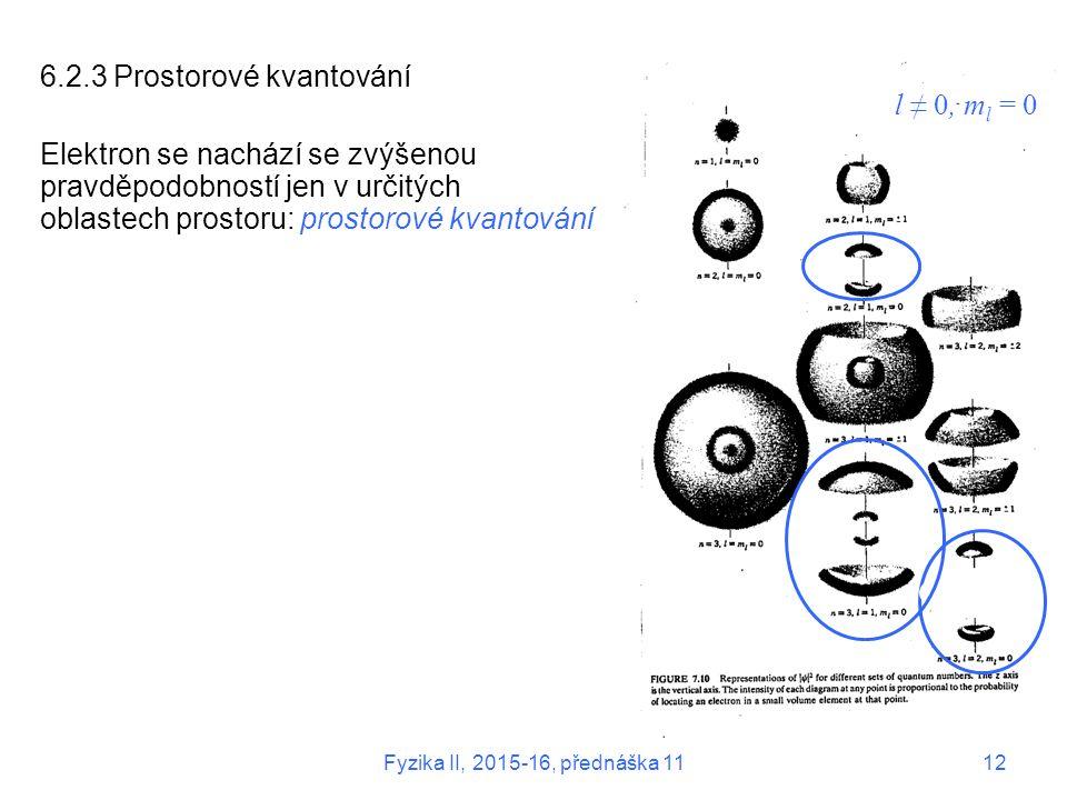 l ≠ 0, m l = 0 6.2.3 Prostorové kvantování Elektron se nachází se zvýšenou pravděpodobností jen v určitých oblastech prostoru: prostorové kvantování Fyzika II, 2015-16, přednáška 1112