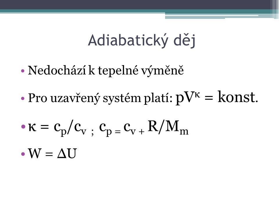 Adiabatický děj Nedochází k tepelné výměně Pro uzavřený systém platí: pV κ = konst.