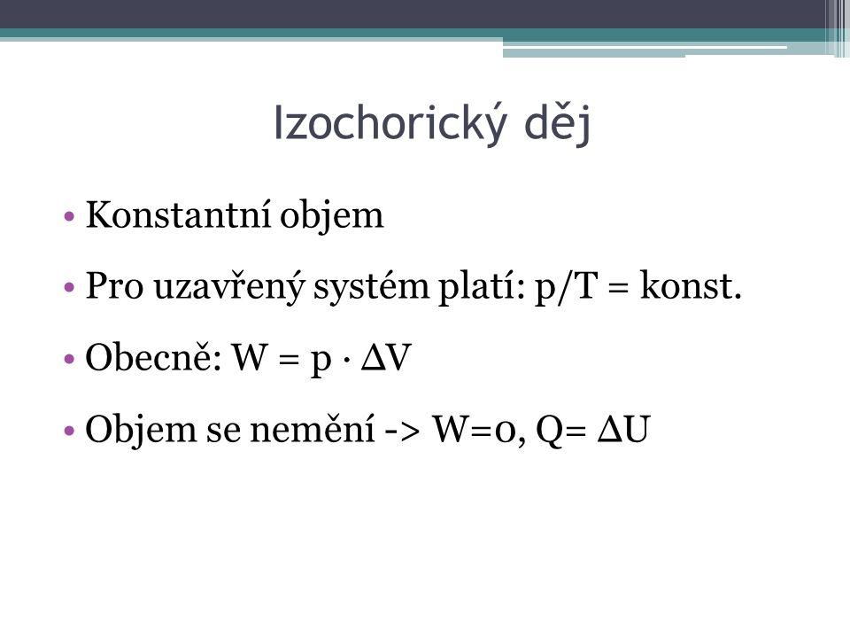Izochorický děj Konstantní objem Pro uzavřený systém platí: p/T = konst.