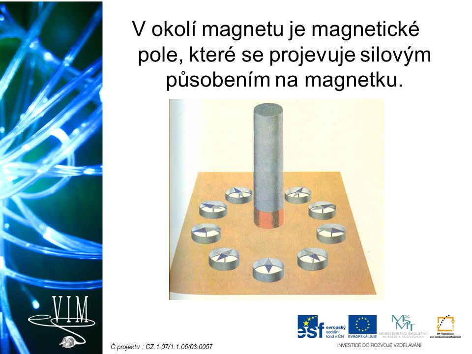 Č.projektu : CZ.1.07/1.1.06/03.0057 V okolí magnetu je magnetické pole, které se projevuje silovým působením na magnetku.