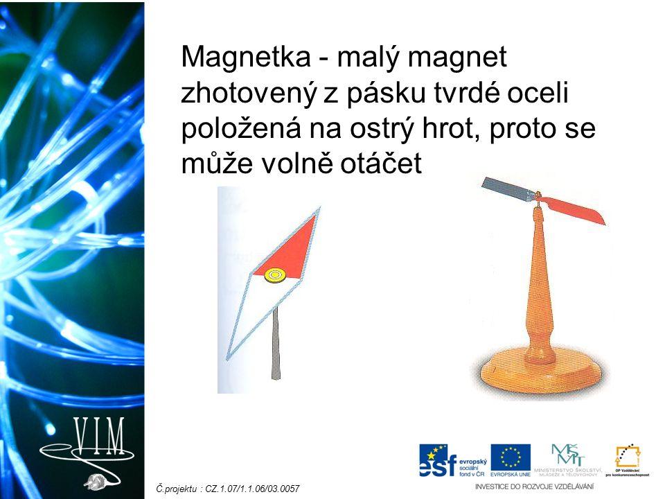 Č.projektu : CZ.1.07/1.1.06/03.0057 Znázornění magnetického pole - magnetické indukční čáry - jsou to myšlené čáry - znázorňují silové působení magn.pole - ze severního do jižního pólu – uzavřená křivka - nikde se neprotínají - kde jsou magnetické síly větší, je hustota mag.