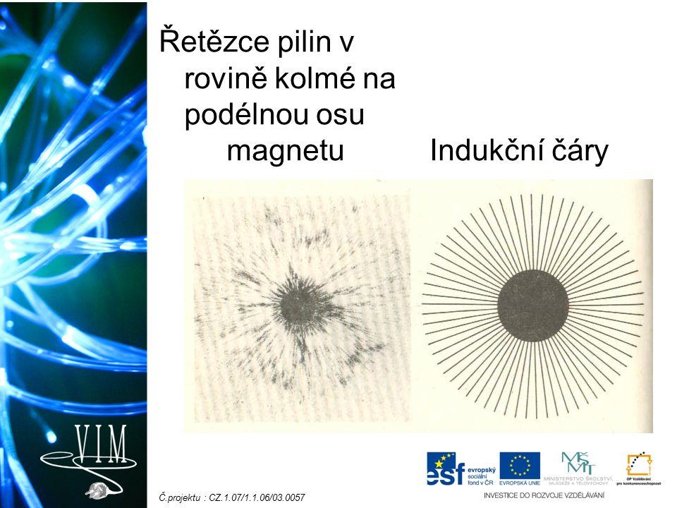 Č.projektu : CZ.1.07/1.1.06/03.0057 Řetězce pilin v rovině kolmé na podélnou osu magnetu Indukční čáry