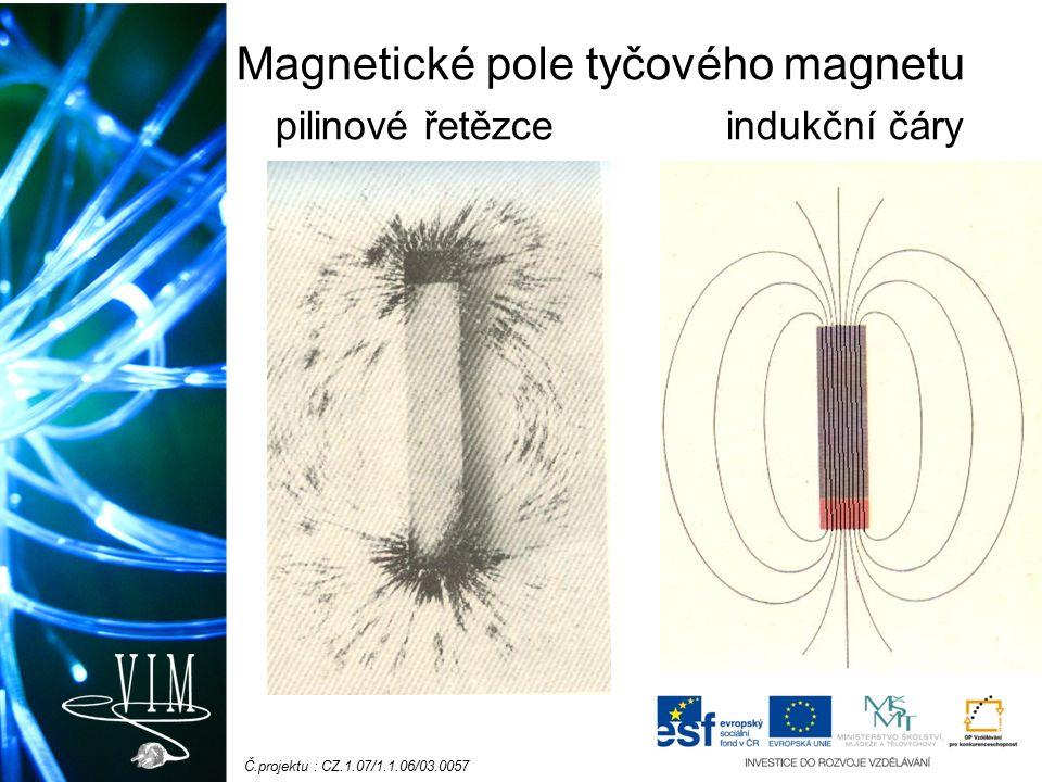 Č.projektu : CZ.1.07/1.1.06/03.0057 Magnetické pole tyčového magnetu pilinové řetězce indukční čáry