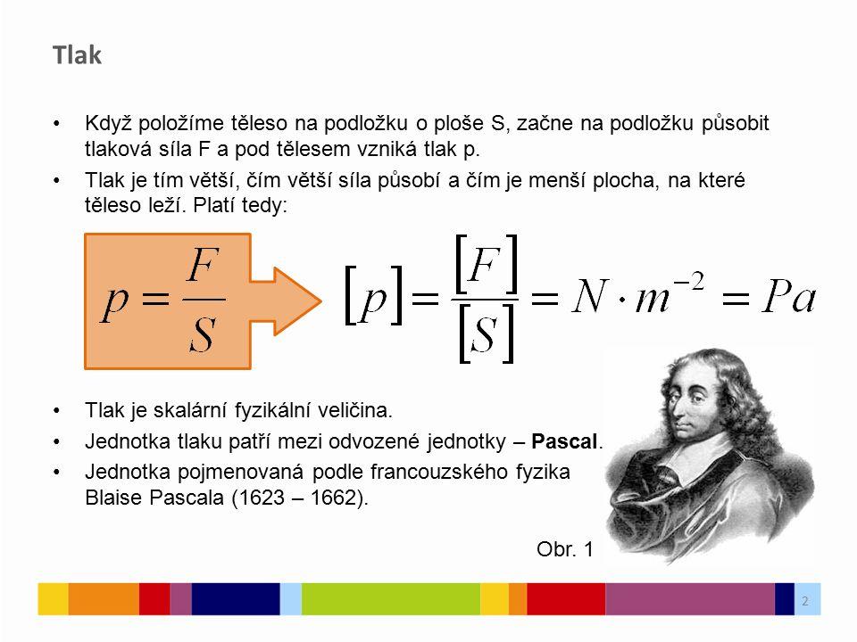 Když položíme těleso na podložku o ploše S, začne na podložku působit tlaková síla F a pod tělesem vzniká tlak p. Tlak je tím větší, čím větší síla pů