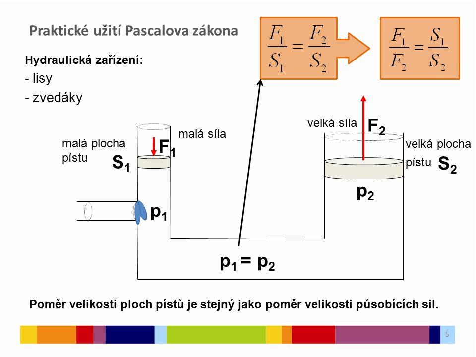 Praktické užití Pascalova zákona 5 Hydraulická zařízení: - lisy - zvedáky p1p1 p2p2 p 1 = p 2 malá plocha pístu S1S1 F2F2 velká plocha pístu S2S2 velká síla F1F1 malá síla Poměr velikosti ploch pístů je stejný jako poměr velikosti působících sil.