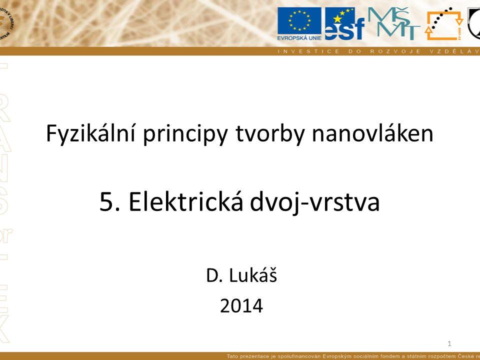 Fyzikální principy tvorby nanovláken 5. Elektrická dvoj-vrstva D. Lukáš 2014 1