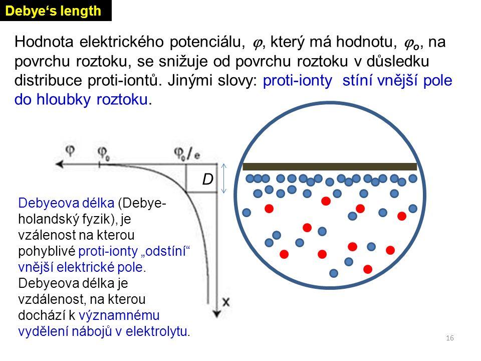 Hodnota elektrického potenciálu, , který má hodnotu,  o, na povrchu roztoku, se snižuje od povrchu roztoku v důsledku distribuce proti-iontů. Jinými