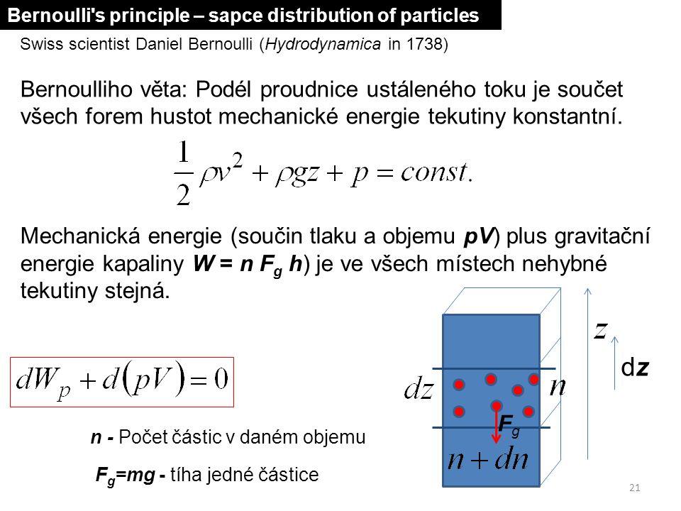 21 Swiss scientist Daniel Bernoulli (Hydrodynamica in 1738) Bernoulliho věta: Podél proudnice ustáleného toku je součet všech forem hustot mechanické
