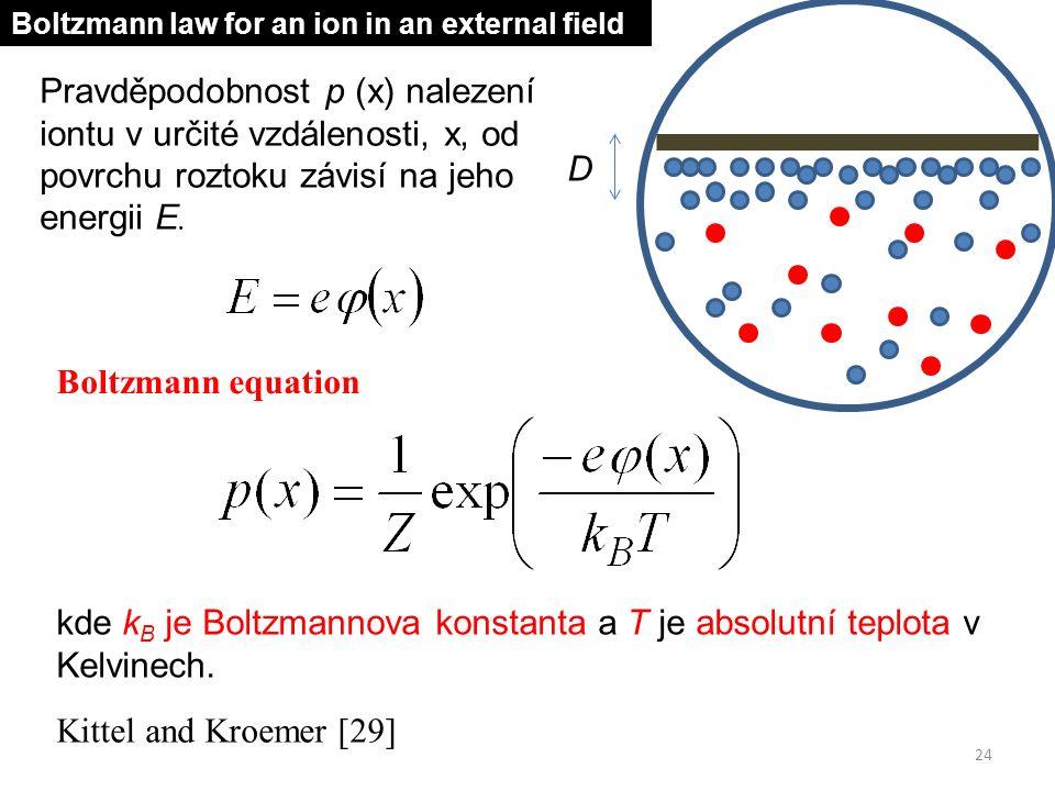Pravděpodobnost p (x) nalezení iontu v určité vzdálenosti, x, od povrchu roztoku závisí na jeho energii E. Boltzmann equation kde k B je Boltzmannova