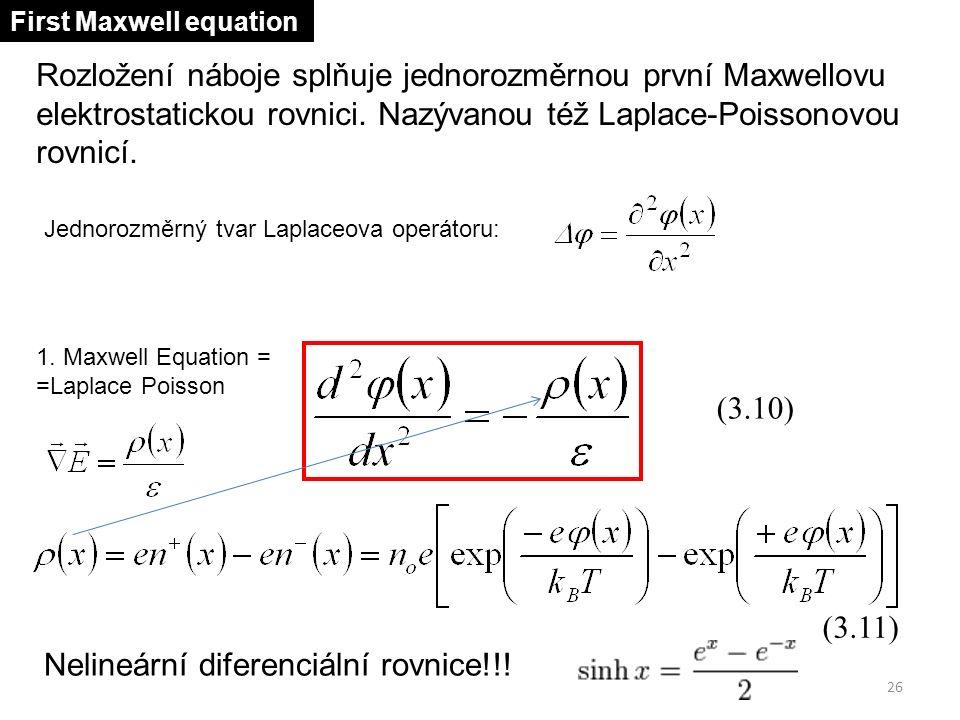 Rozložení náboje splňuje jednorozměrnou první Maxwellovu elektrostatickou rovnici. Nazývanou též Laplace-Poissonovou rovnicí. (3.10) (3.11) Nelineární